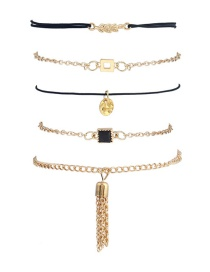 Trendy Gold Color Tassel&diamond Decorated Simple Bracelet(5pcs)