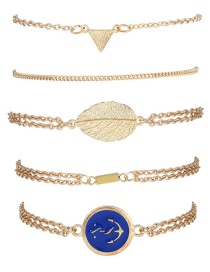 Trendy Gold Color Leaf Shape Decorated Pure Color Bracelet(5pcs)