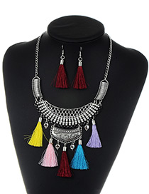 Fashion Multi-color Tassel Decorated Color Matching Jewelry Sets
