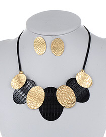 Fashion Black+gold Color Oval Shape Decorated Color Matching Jewelry Sets