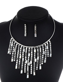 Fashion Silver Color Long Tassel Decorated Pure Color Jewelry Sets