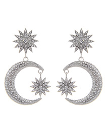 Fashion Silver Color Moon&stars Decorated Pure Color Earrings
