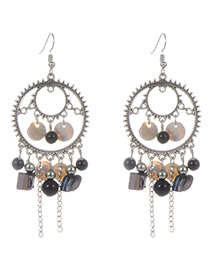 Fashion Black Circular Ring&tassel Decorated Earrings