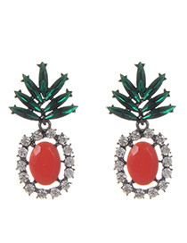 Fashion Red Pineapple Shape Decorated Hollow Out Earrings