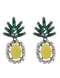 Fashion Yellow Pineapple Shape Decorated Hollow Out Earrings