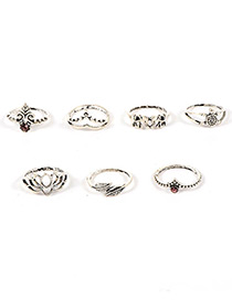 Fashion Silver Color Crown&flower Shape Decorated Pure Color Ring(7pcs)
