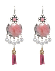 Fashion Pink Tassel&pearls Decorated Simple Earrings