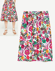 Fashion Multi-color Flower Pattern Decorated Simple Skirt