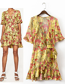 Fashion Yellow Flower Pattern Decorated Short Sleeves Dress