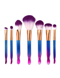 Trendy Blue+purple Color Matching Decorated Makeup Brush(7pcs)