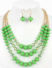 Vintage Green Beads Decorated Multi-layer Jewelry Sets