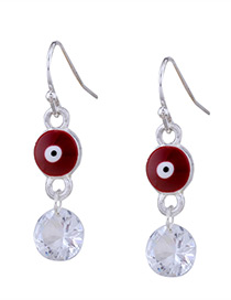 Personality Red Eyes &round Diamond Decorated Earrings