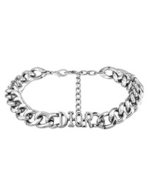 Fashion Silver Color Letter Shape Decorated Chain Choker