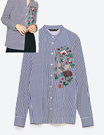 Fashion Blue Embroidery Decorated Long Sleeves Shirt