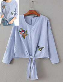 Lovely Blue Butterfly Patch Decorated Shirt
