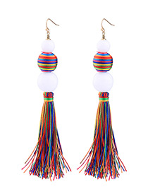 Bohemia Multicolor Color-matching Decorated Tassel Earrings