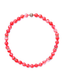 Lovely Red Pure Color Decorated Necklace
