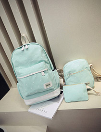 Fashion Light Green Dot Shape Decorated Backpack (3pcs)