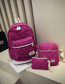 Fashion Plum-red Dot Shape Decorated Backpack (3pcs)