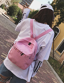 Lovely Pink Pin Shape Decorated Backpack