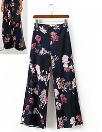 Vintage Multi-color Flower Pattern Decorated Wide-leg Trousers