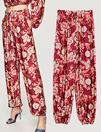 Elegant Red Pure Color Decorated Wide-leg Trousers