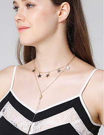 Vintage Gold Color Star Shape Decorated Double Layer Choker