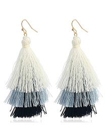 Bohemia Black Color-matching Decorated Tassel Earrings