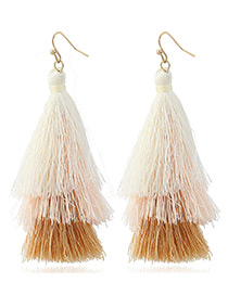 Bohemia Coffee Color-matching Decorated Tassel Earrings