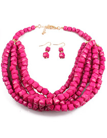 Bohemia Plum-red Square Shape Decorated Jewelry Sets