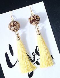 Vintage Yellow Ball Shape Decorated Earrings