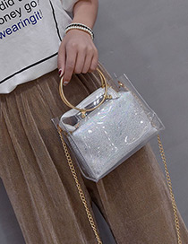 Fashion White Sequins Decorated Square Shape Shoulder Bag(2pcs)