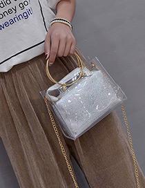 Fashion White Sequins Decorated Square Shape Shoulder Bag(2pcs)