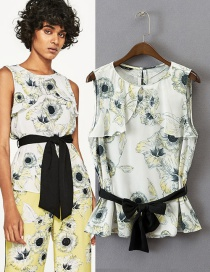 Fashion Multi-color Bowknot Decorated Sleeveless Simple Blouse