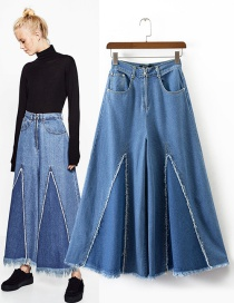 Trendy Blue Pure Color Decorated Ultra-wide-leg Trousers