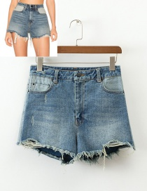 Trendy Blue Tassel Decorated Pure Color Shorts