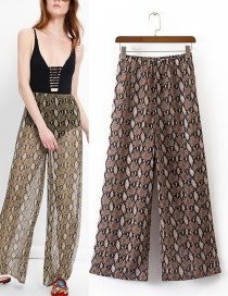 Trendy Multi-color Python Pattern Decorated Ultra-wide-leg Trousers