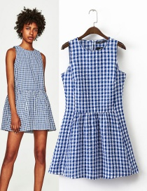 Trendy Blue Grid Pattern Decorated Sleeveless Dress