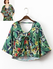 Trendy Multi-color Flower Pattern Decorated Simple Blouse