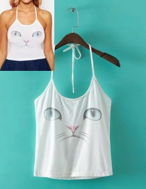 Trendy White Cat Pattern Decorated Simple Suspender Vest