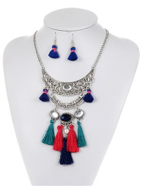 Fashion Black+red Tassel Decorated Color Matching Jewelry Sets
