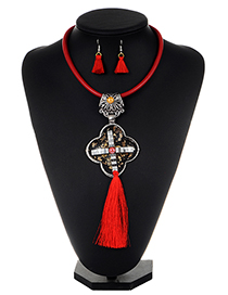 Exaggerate Red Cross Decorated Tassel Jewelry Sets
