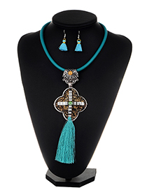 Exaggerate Light Blue Cross Decorated Tassel Jewelry Sets
