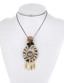 Fashion Khaki Round Shape Decorated Long Necklace