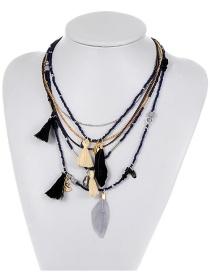 Bohemia Dark Blue Feather Shape Decorated Multilayer Necklace