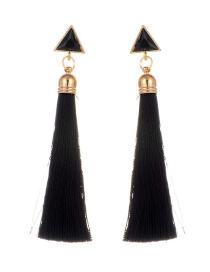 Bohemia Black Triangle Shape Decorated Tassel Earrings