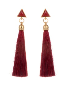 Bohemia Red Triangle Shape Decorated Tassel Earrings