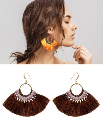 Bohemia Brown Tassel Decorated Earrings