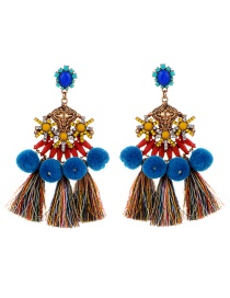Exaggerate Multi-color Gemstone Decorated Pom Earrings