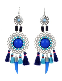 Fashion Sapphire Blue Hollow Out Decorated Tassel Earrings